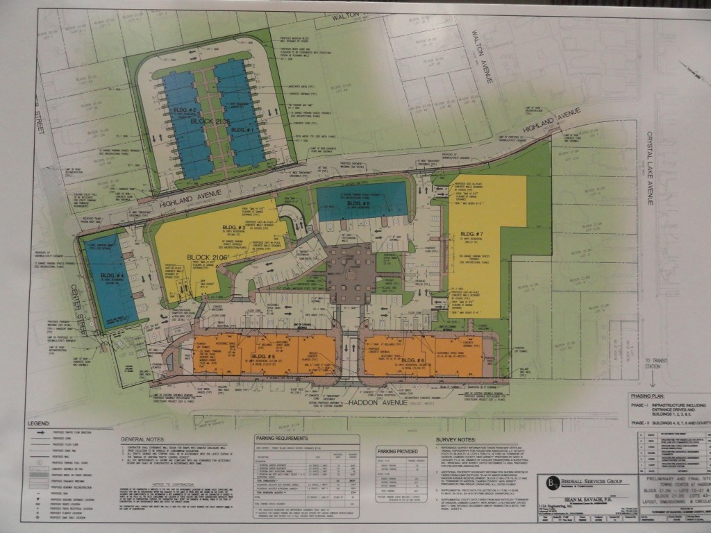 Layout of proposed revisions to the site plan for the Towne Center at Haddon. Credit: Matt Skoufalos.