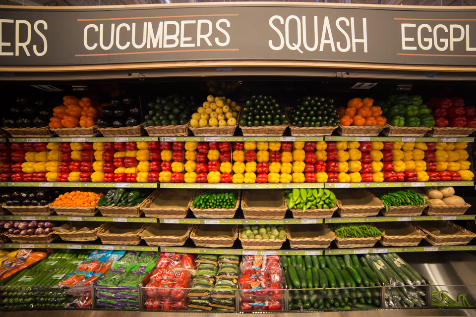 "Little details, like spelling out ""CHERRY HILL"" in alternating red and yellow peppers, are some of the touches that draw Whole Foods Shoppers. Credit: Tricia Borough/Lilac Blossom Photography."