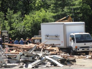 The scene of a building collapse at a Cherry Hill construction site Friday. Credit: Matt Skoufalos.