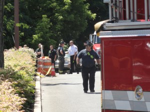 A rescue operation became a removal operation Friday afternoon as emergency crews from Cherry Hill and Camden City responded to the scene of a fatal construction accident. Credit: Matt Skoufalos.