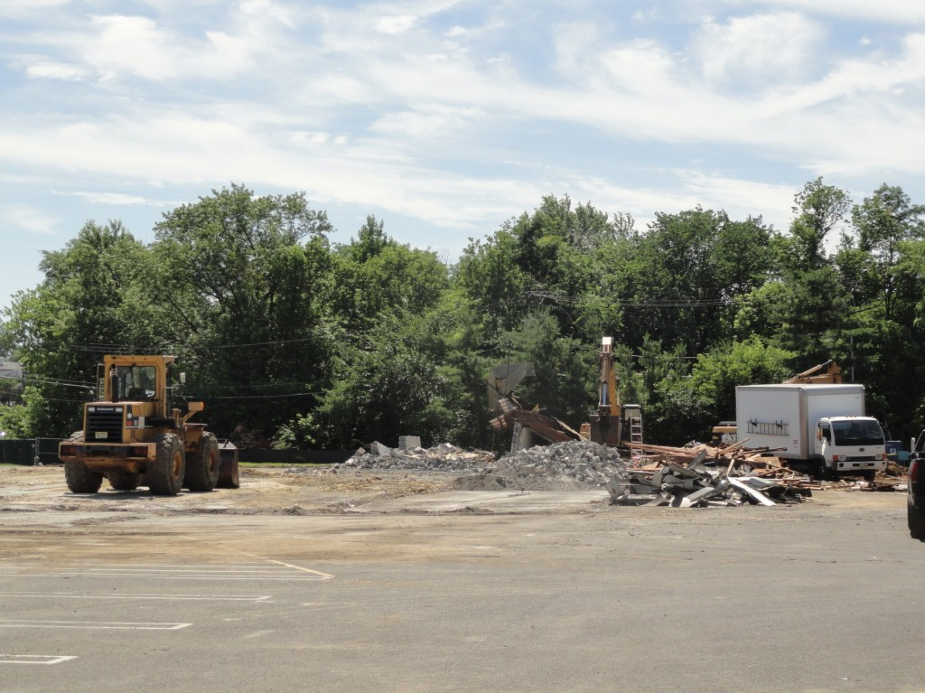 A former Blockbuster Video was being demolished to make way for a Super Wawa along Route 38 in Cherry Hill. Credit: Matt Skoufalos.