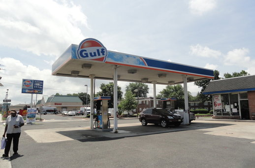 Police said a 49-year-old Oaklyn man allegedly attacked an attendant at the Gulf gas station in a daylight robbery Thursday afternoon. Credit: Matt Skoufalos.