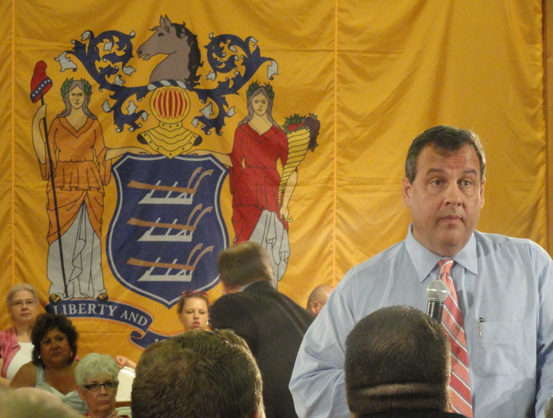 NJ Gov. Chris Christie addressed constituents in Haddon Heights at a town-hall-style meeting Wednesday. Credit: Matt Skoufalos.