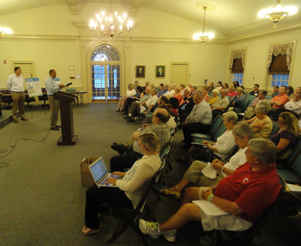 Haddonfield residents gathered to hear a presentation from New Jersey American Water representatives on the proposed sale of the town water and sewer infrastructure Wednesday. Credit: Matt Skoufalos.