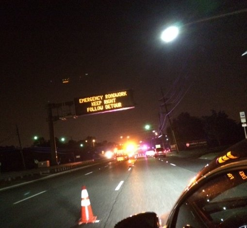 Traffic on Route 70 westbound was being diverted as late as 11:30 p.m. on Tuesday night due to an electrical incident on the highway. Credit: Jennifer Hynes.