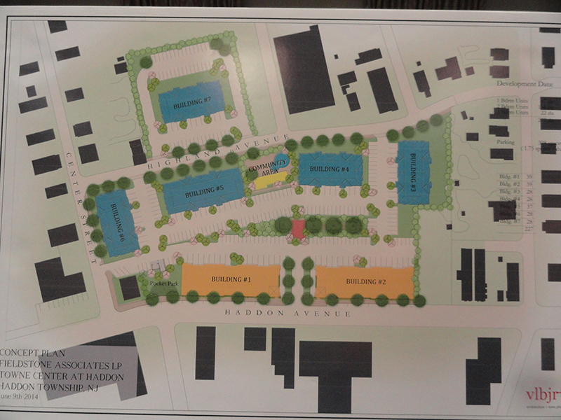 A revised plan for the Haddon Town Center redevelopment project no longer includes retail or condominium spaces after the threat of an affordable housing lawsuit. Credit: Matt Skoufalos.