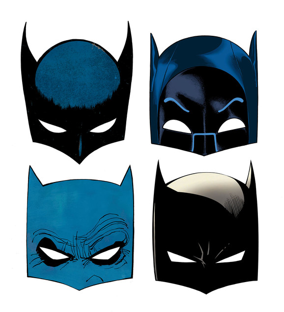 The many faces of Batman, by Ryan Sook. Credit: DC Entertainment.