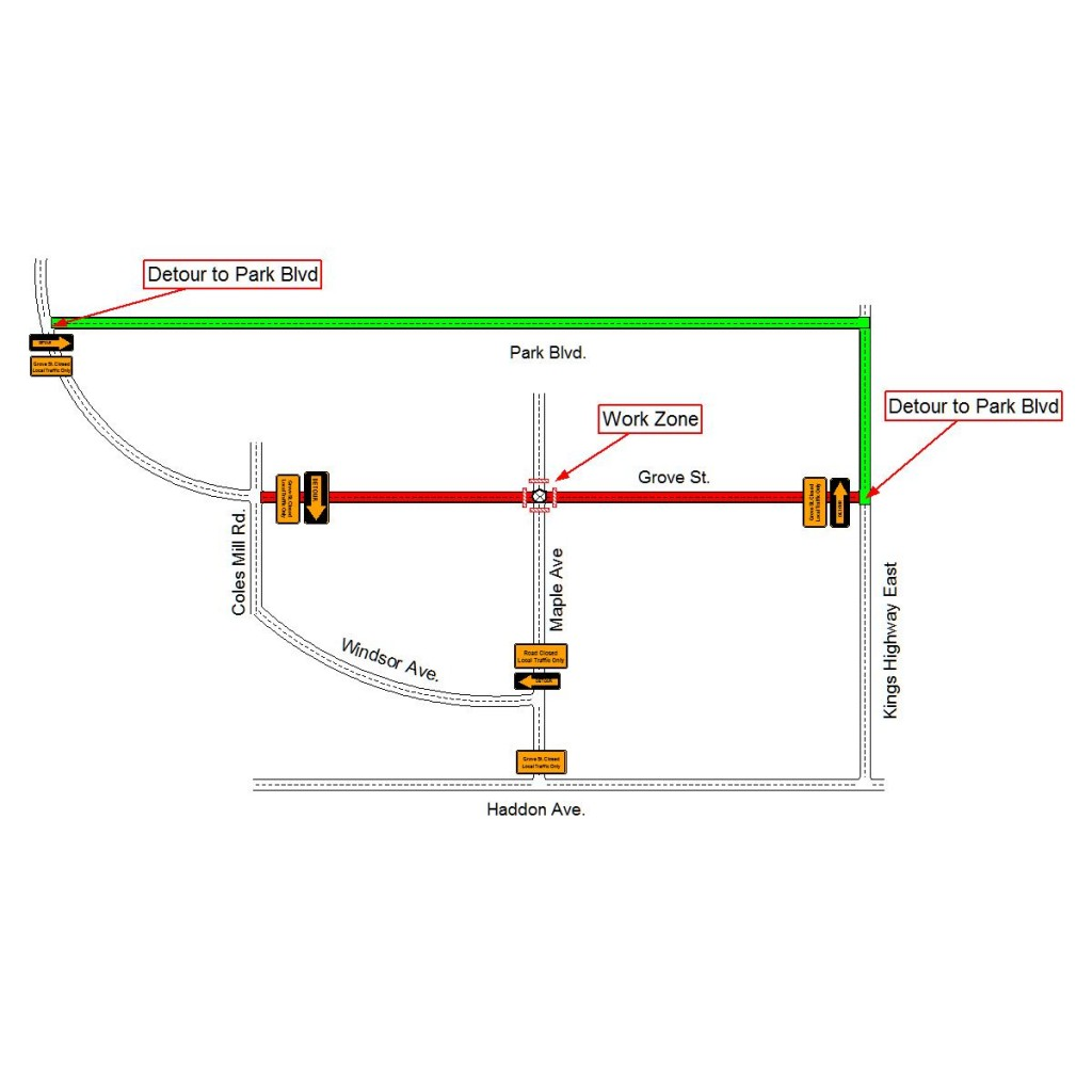 A map outlining the recommended traffic detour for vehicles that typically access Grove Street. Credit: Haddonfield Police.