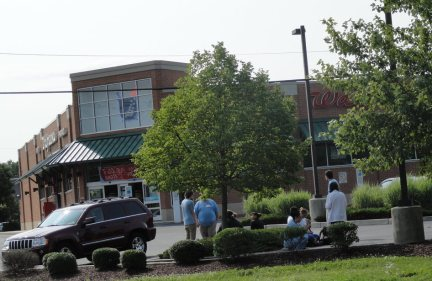 Employees at the Cherry Hill Walgreens were evacuated from the store Tuesday morning due to a bomb threat. Credit: Matt Skoufalos.