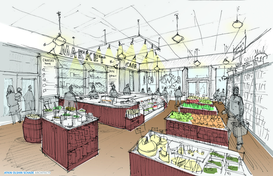 Artist's rendering of the Welcome Market interior, as seen from the back of the store. Credit: Welcome Market.