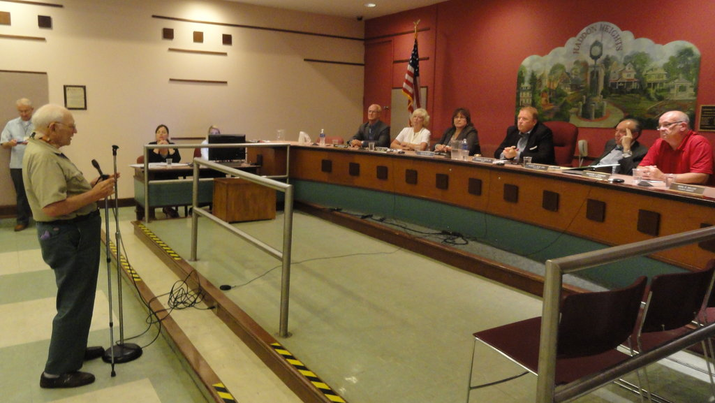 Longtime Haddon Heights resident Bill Troutman addresses the borough council on the subject of liquor licenses Wednesday. Credit: Matt Skoufalos.