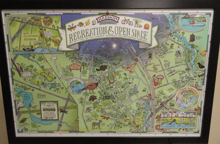Haddon Township artist-in-residence Mark Parker created this map of the open spaces in the town, which hangs in the Center. Credit: Matt Skoufalos.