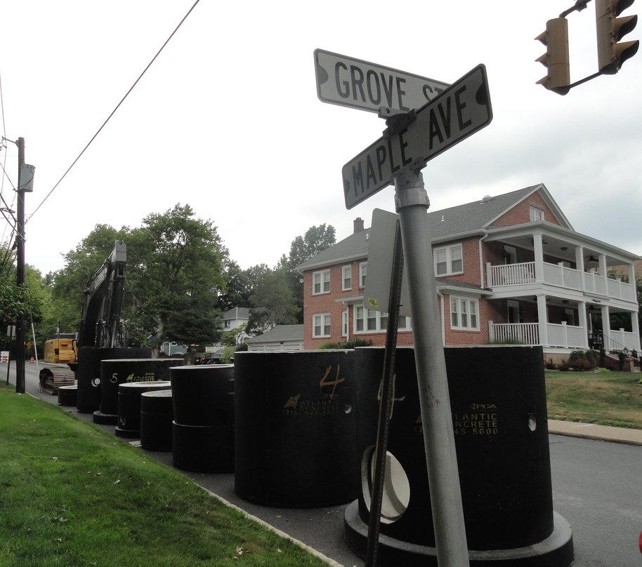 Replacement pipes along Maple Avenue in Haddonfield. Credit: Matt Skoufalos.