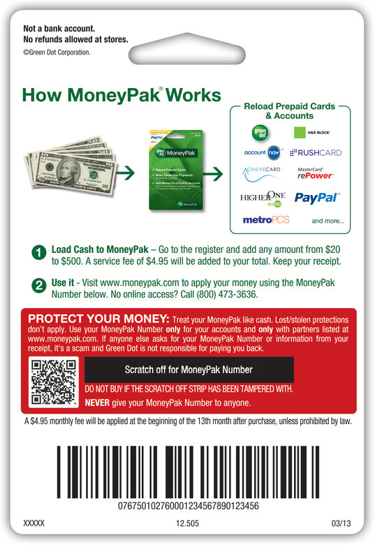 Green Dot MoneyPak chits are used to load cash onto a Green Dot debit card. Credit: Green Dot Corp.