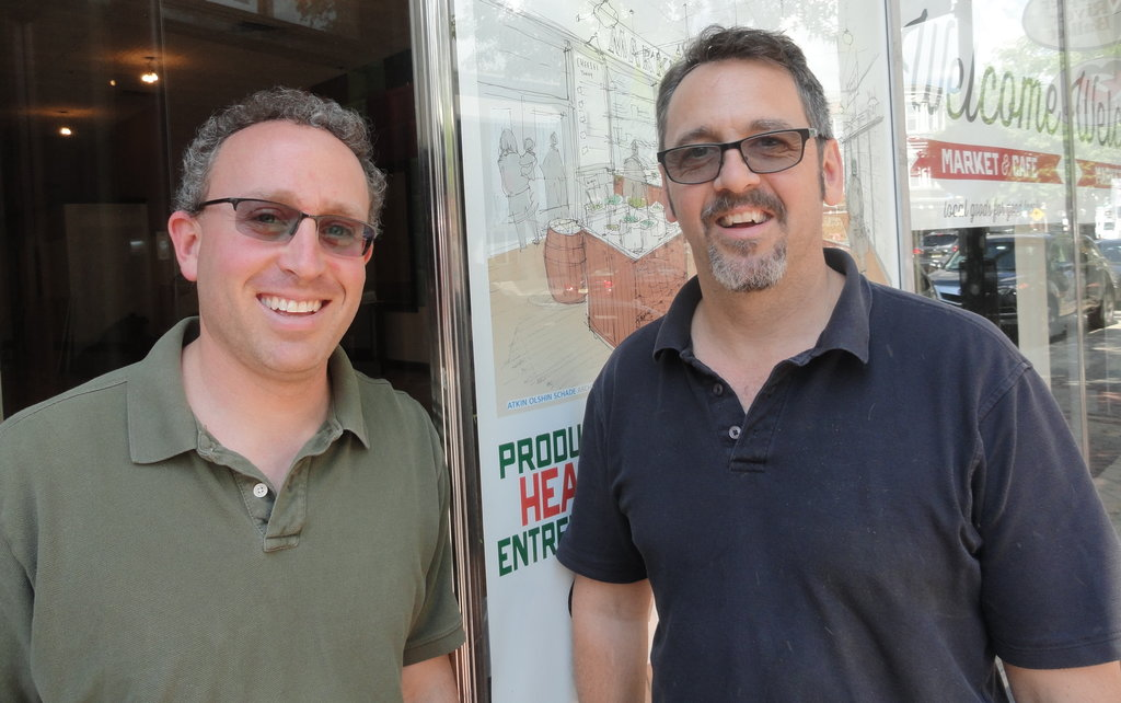 Eli Massar (left) and Chris Thomas hope that Welcome Market will give Collingswood residents a high-quality neighborhood grocery store. Credit: Matt Skoufalos.