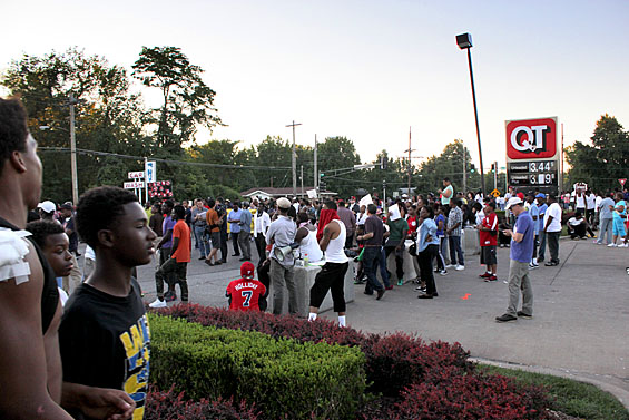 The QuikTrip convenience store has become a symbolic meeting place during the Ferguson protests. Credit: Danny Wicentowski / Riverfront Times.