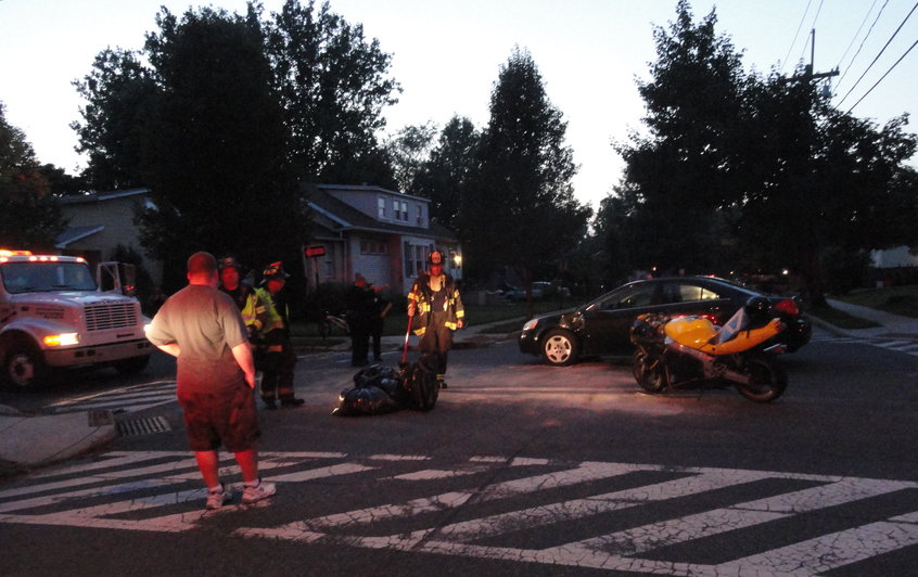 The scene of a two-vehicle accident in Haddon Township on Wesnesday evening. Credit: Matt Skoufalos.