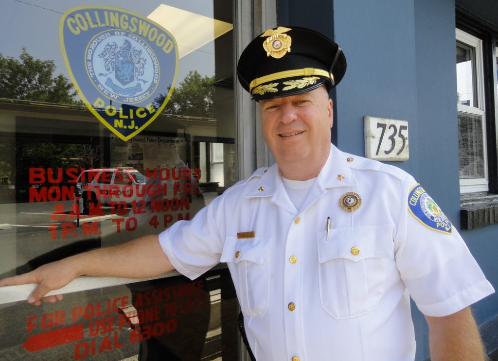 Collingswood Police Chief RIchard Sarlo stands outside the department that he helped maintain for nearly 30 years. Credit: Matt Skoufalos.