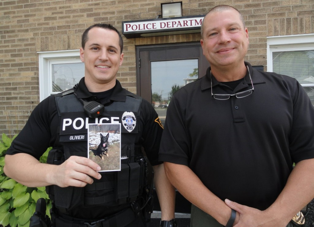 Oaklyn Patrolman Matt Olivieri (left) and Chief Mark Moore are hoping to raise enough funds to outfit a new K-9 unit. Credit: Matt Skoufalos.