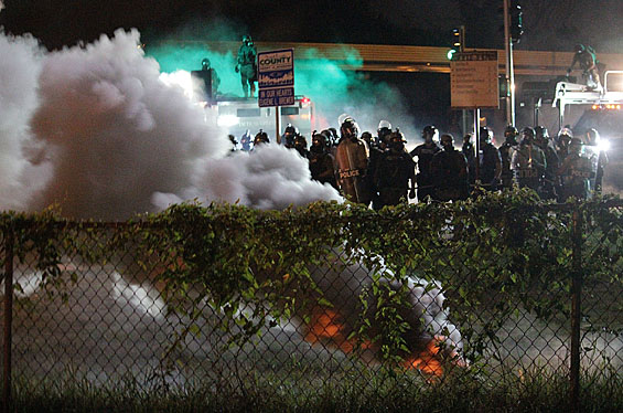 Clouds of tear gas waft over the streets of Ferguson, MO. Credit: Danny Wicentowski / Riverfront Times.