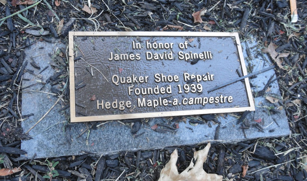 Spinelli was honored with a plaque and tree planting on the sidewalk outside his shop. Credit: Matt Skoufalos.