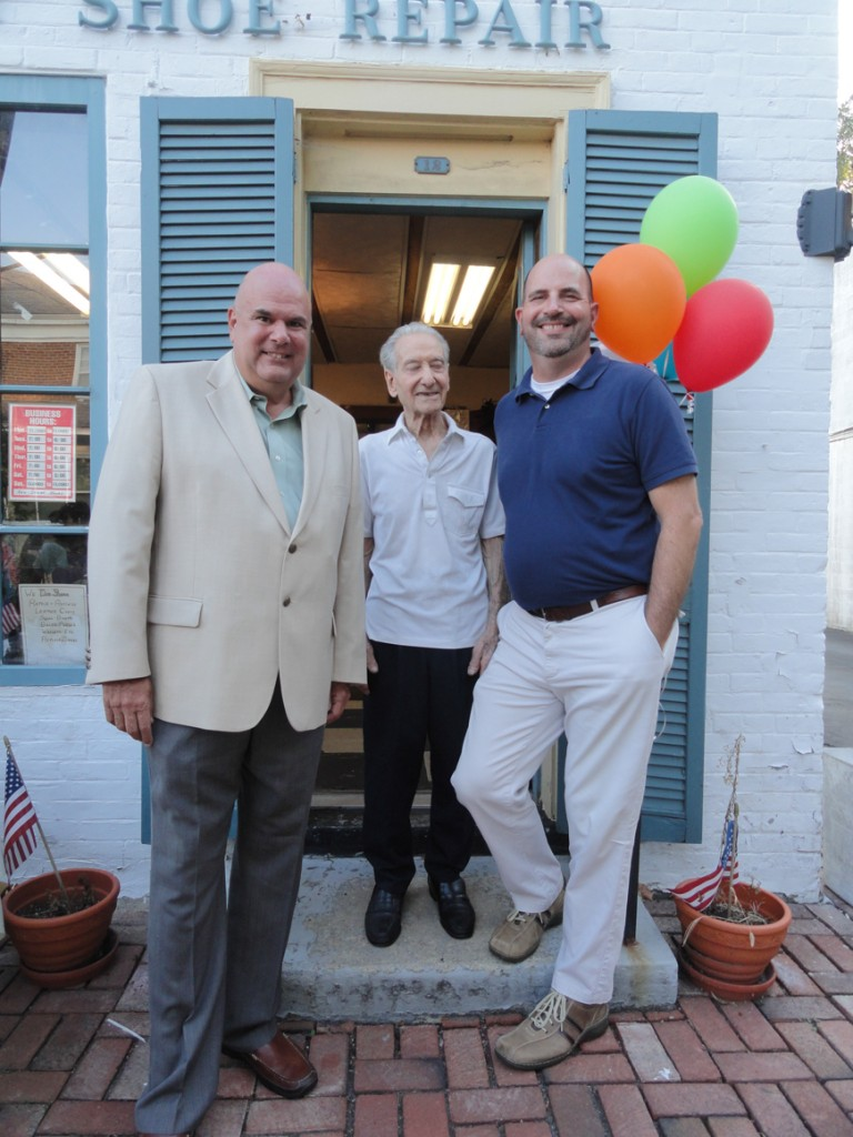 Rochford (left) and Haddonfield Mayor Jeffrey Kasko extended their appreciation to Spinelli on his retirement. Credit: Matt Skoufalos.