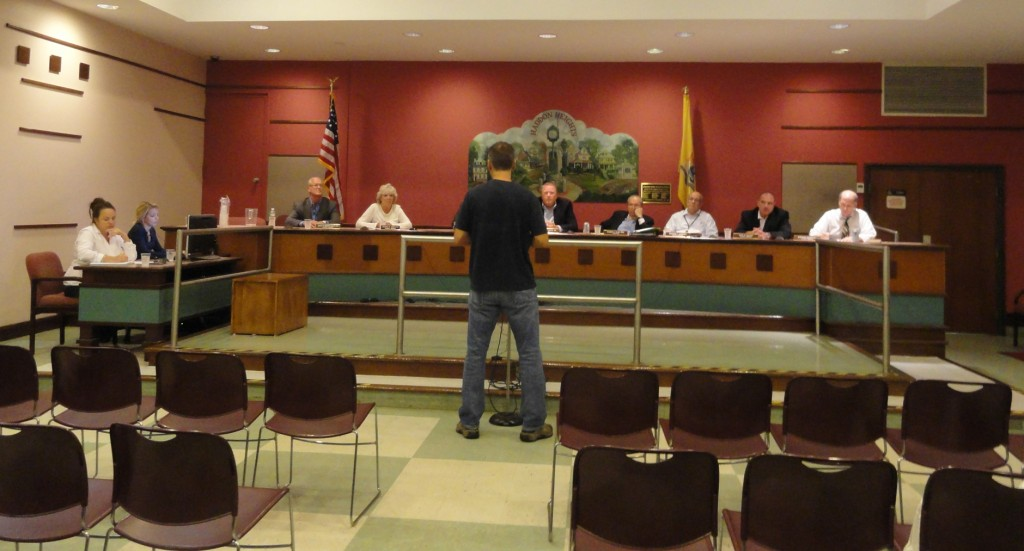 Haddon Heights resident Tim Gronen addresses the borough council with his thoughts on permitting the sale of alcohol in Haddon Heights. Credit: Matt Skoufalos.