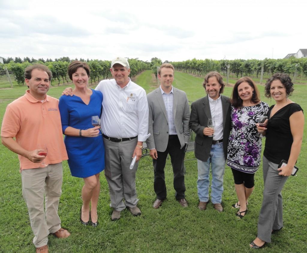 From left: Wine industry professionals Scott Thomas, Sarah Willoughby, Chuck Nunan, Jake Buganski, Scott Donnini, Nina Kelly, and Joanna Clarke. Credit: Matt Skoufalos.
