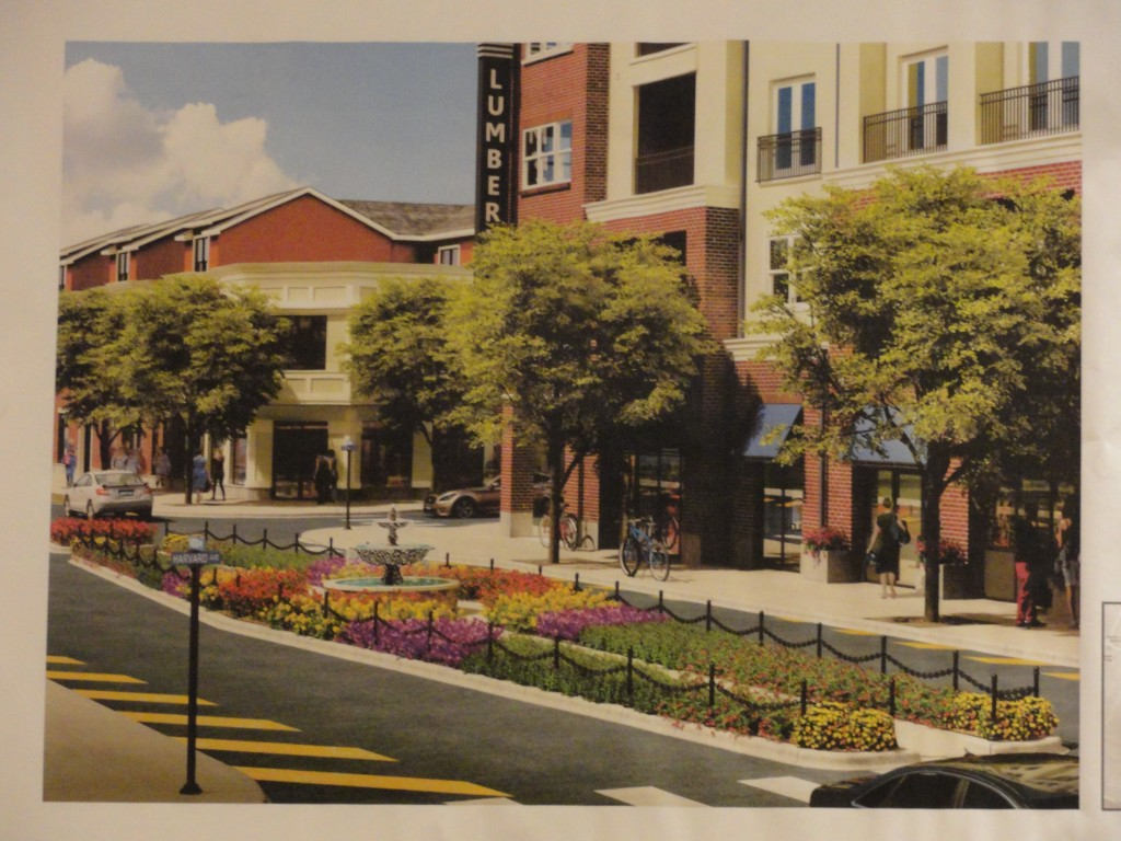 Artist's rendering of the median/fountain project at the LumberYard in Collingswood. Credit: Borough of Collingswood.