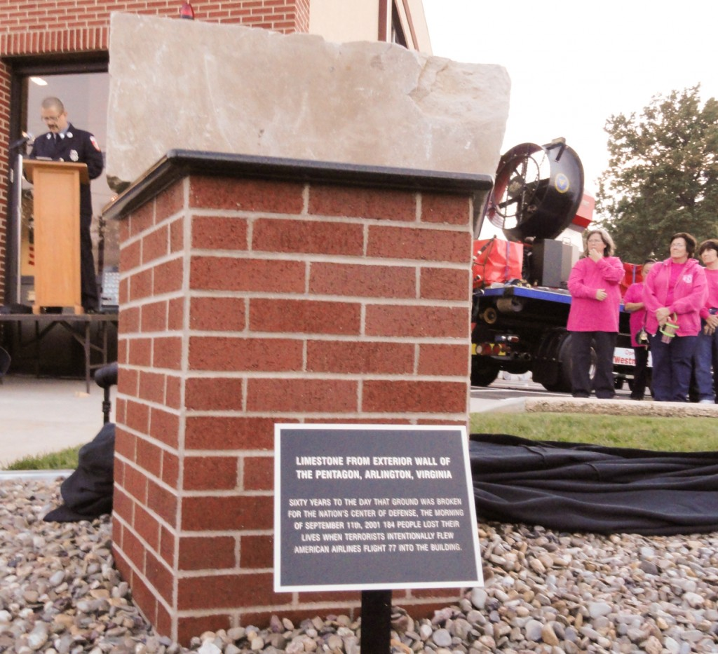 A piece of the Pentagon building contained in the Westmont Fire Company 9-11 memorial. Credit: Matt Skoufalos.