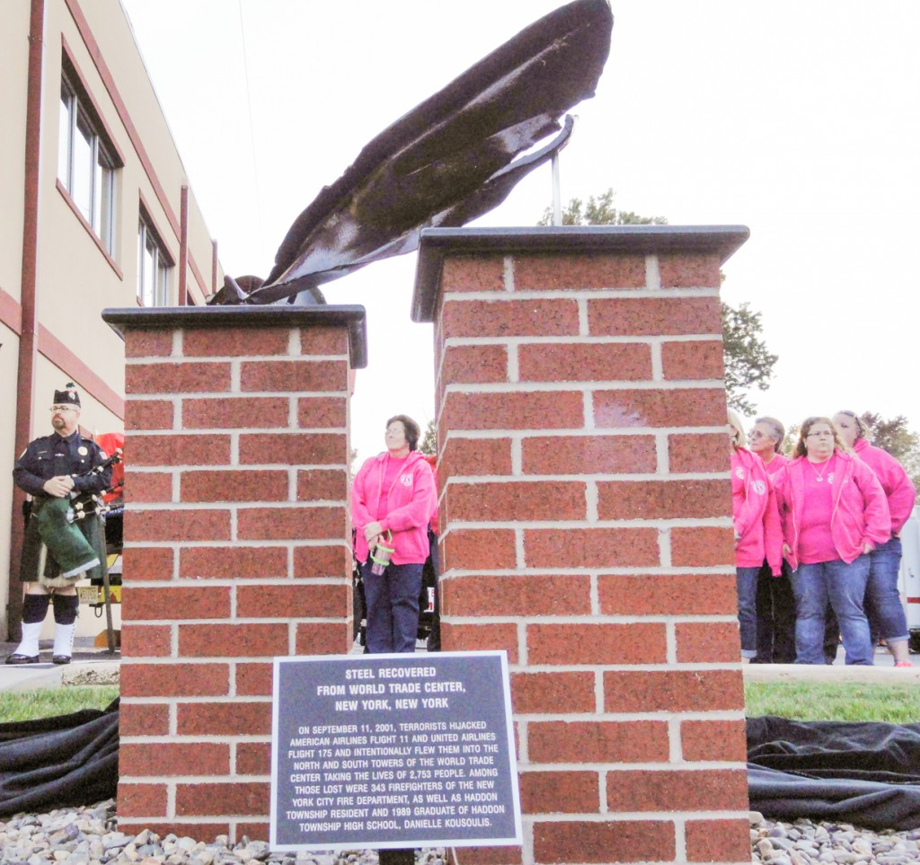 A piece of steel from the World Trace Center is contained in the Westmont Fire Company 9-11 memorial. Credit: Matt Skoufalos.