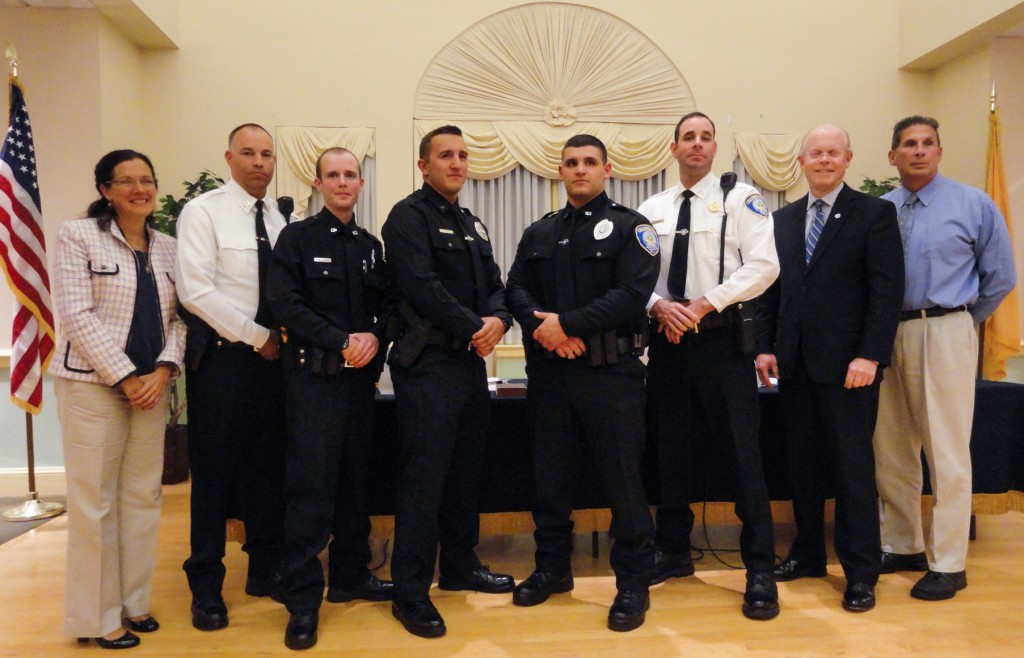 Collingswood Borough Commissioners added three new officers and promoted Det. Frank Lee to captain. Credit: Matt Skoufalos.