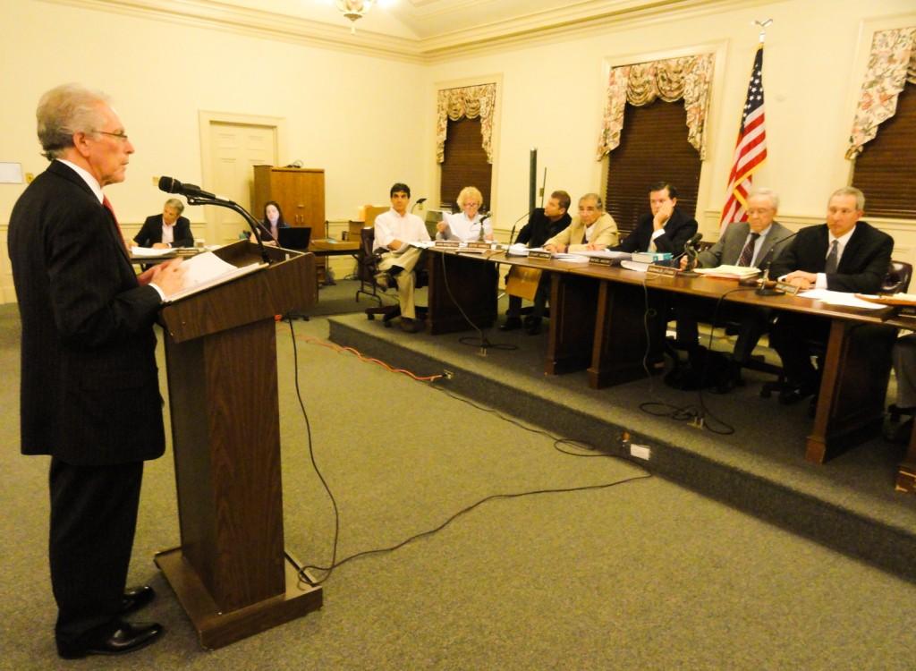Donald Cofsky addresses the Haddonfield planning board. Credit: Matt Skoufalos.