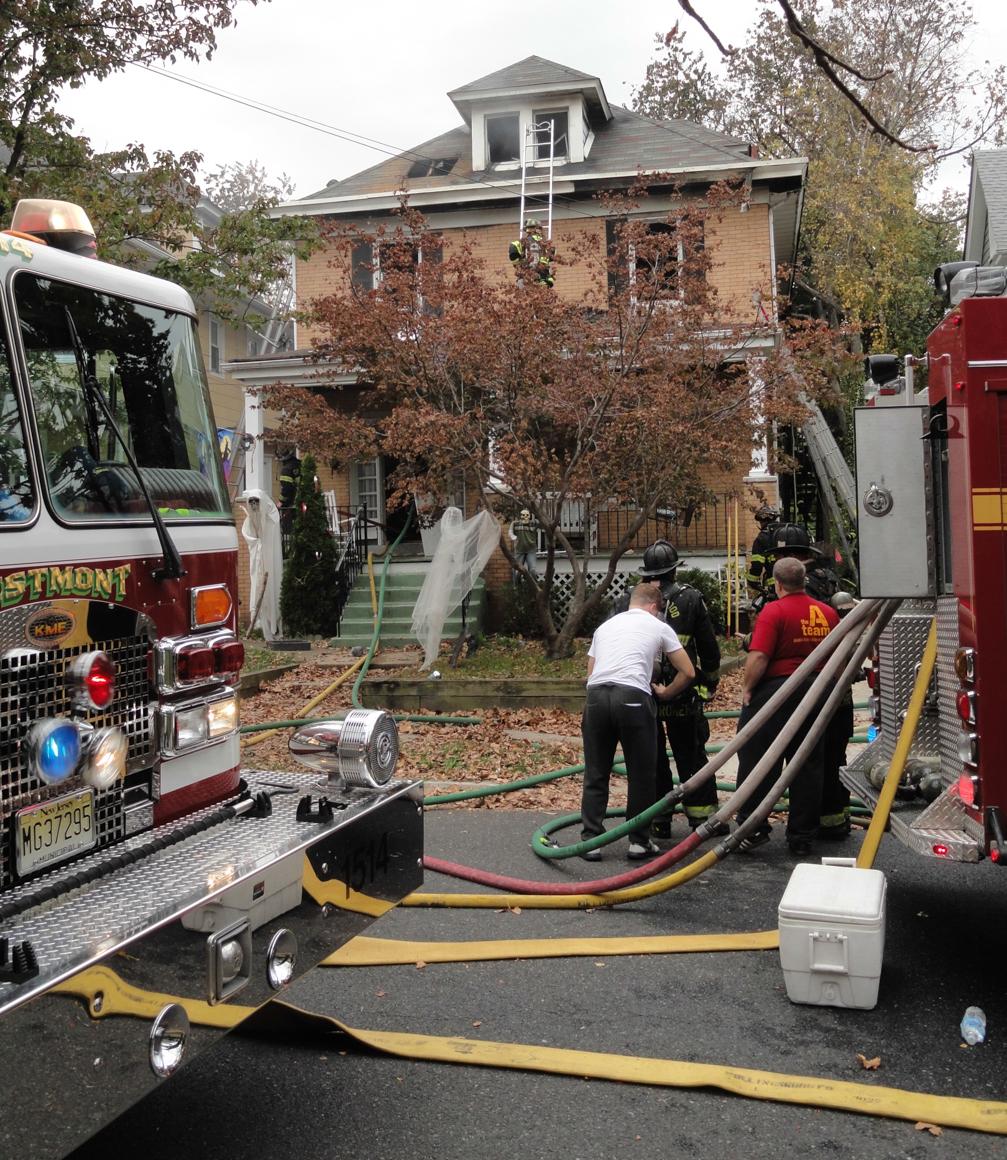 Crews respond to a Crestmont Terrace fire. Credit: Matt Skoufalos.
