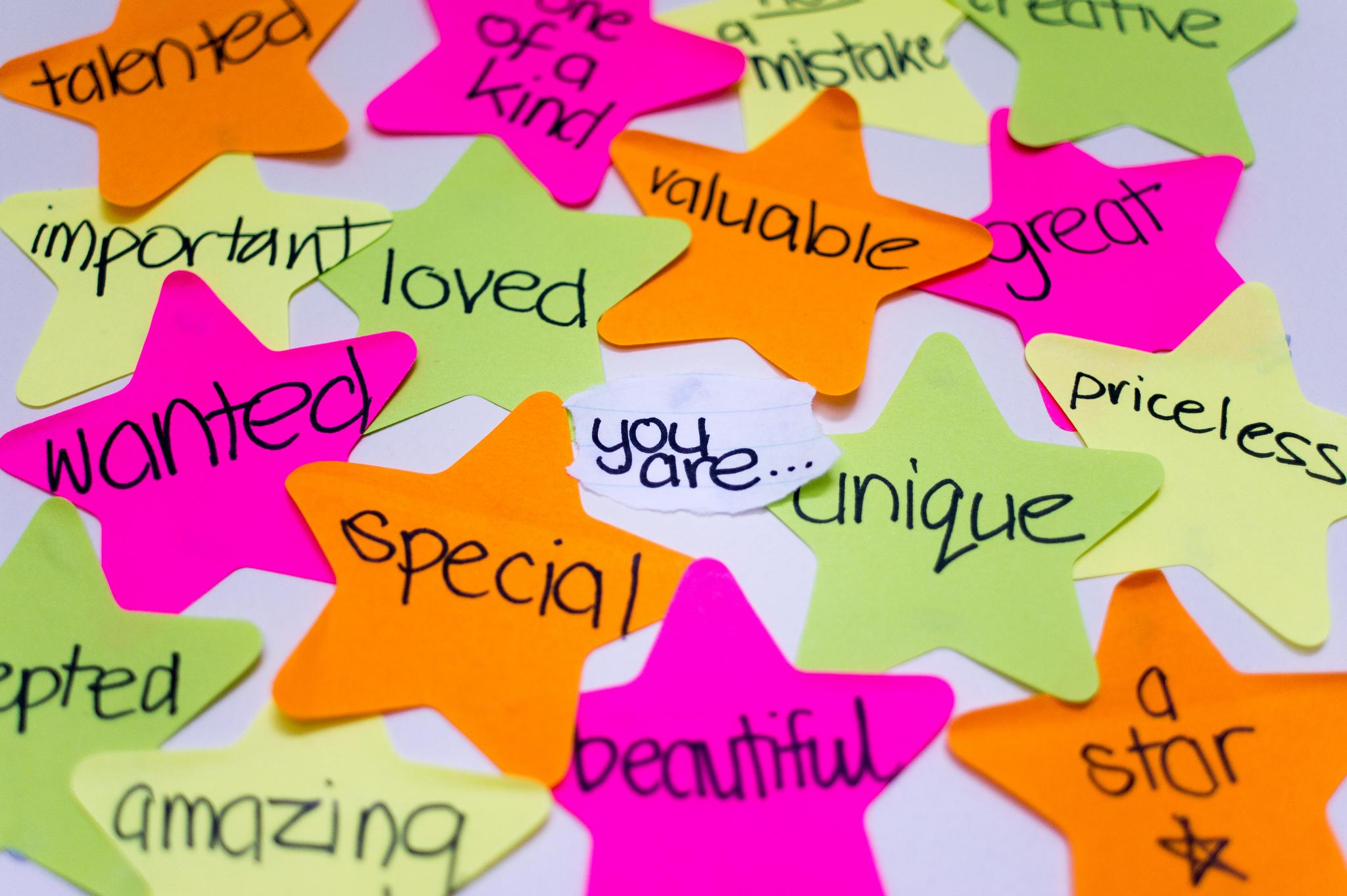 Self-esteem post-it wall. Credit: Kiran Foster. http://goo.gl/piLC5n