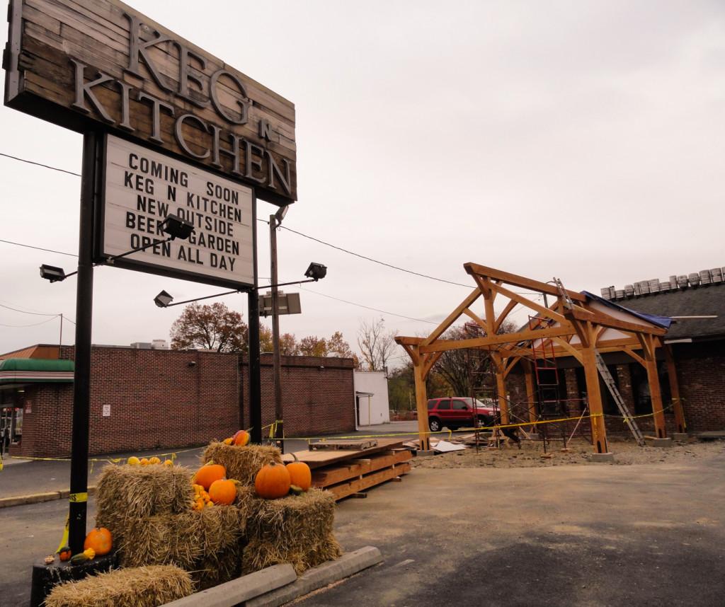 Construction of the Keg & Kitchen beer garden is underway. Credit: Matt Skoufalos.