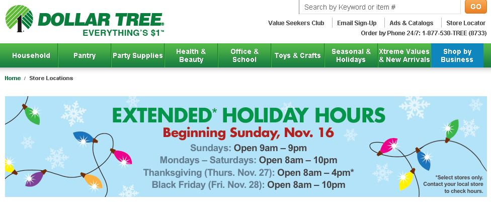 Dollar Tree is one of several retailers to open on Thanksgiving. Credit: Dollar Tree.