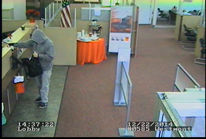 Suspect wanted in the Santander Bank robbery. Credit: Haddon Twp. PD.