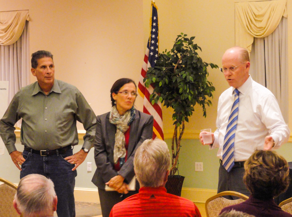 Collingswood Mayor James Maley (right) addresses residents. Credit: Matt Skoufalos.