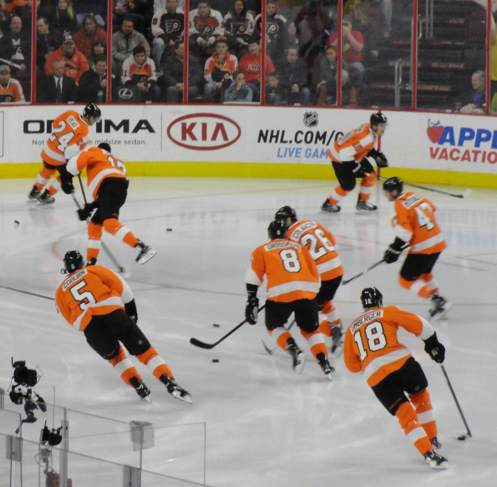 Philadelphia Flyers pre-game skate. Credit: Matt Skoufalos.