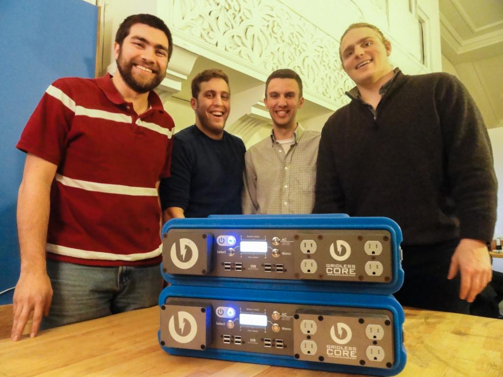 Andrew Leonard, Jason Halpern, Patrick Murphy, and Thomas Castner of Gridless Power. Credit: Matt Skoufalos.