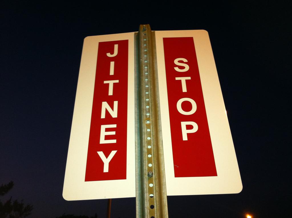 Jitney sign. Credit: Jay Yohe: https://goo.gl/XfvMU6.