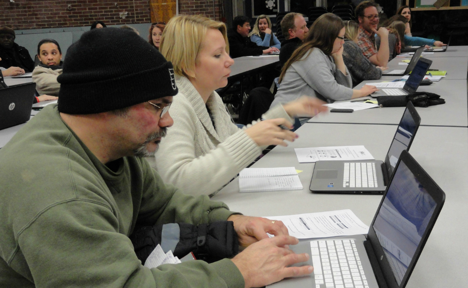 Collingswood parents try the PARCC exam. Credit: Matt Skoufalos.