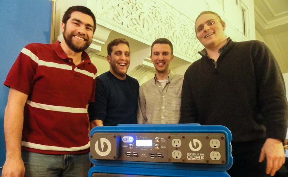 (From left) Andrew Leonard, Jason Halpern, Patrick Murphy, and Thomas Castner of the Collingswood-based startup, Gridless Power. Credit: Matt Skoufalos.