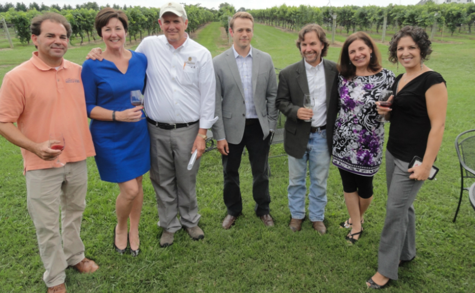 Donnini (third from right) at Auburn Road Winery. Credit: Matt Skoufalos.