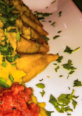 Samosas with Indial Dal. Credit: Stacey Douglas.