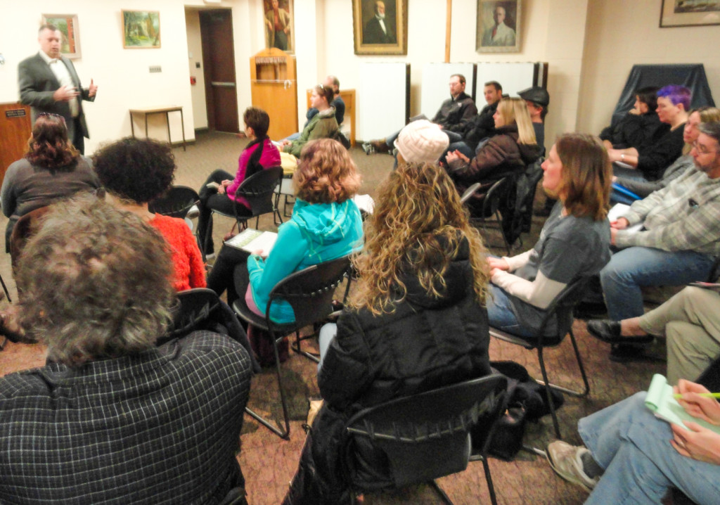Collingswood parents learn about the PARCC. Credit: Matt Skoufalos.