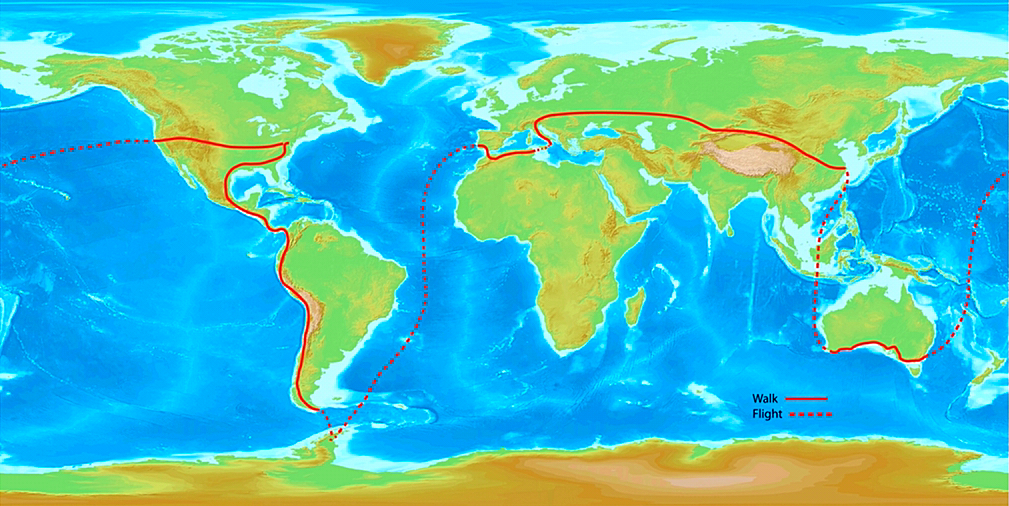 Turcich's World Walk route. Credit: Tom Turcich.