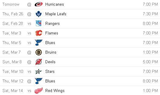 Flyers' next 10 games. Credit: Google.com