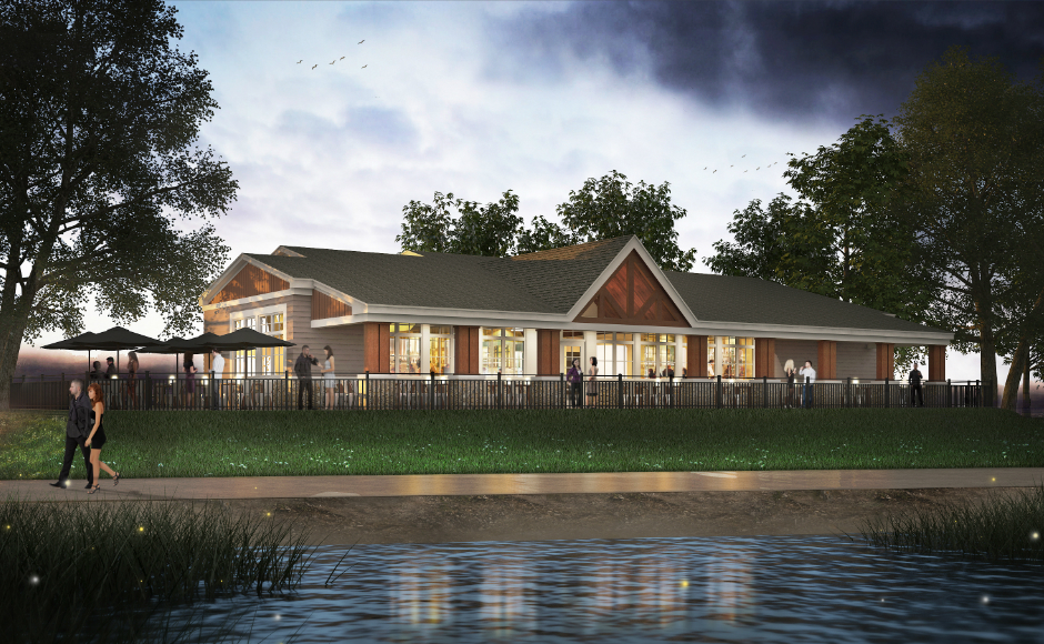 River view artist's rendering of the new restaurant at Cooper River Park. Credit: Camden County.